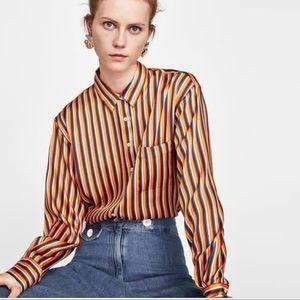 Zara women's extra small satin button down